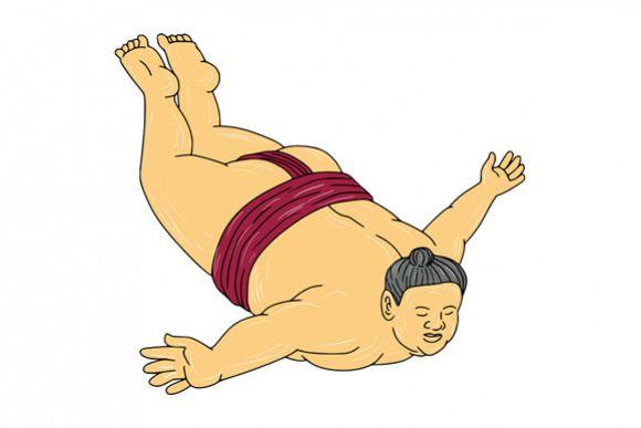 Japanese Sumo Wrestler Skydiving Drawing example image 1
