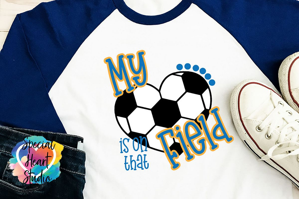 My heart is on that field - SVG - Girls Soccer cut file example image 1
