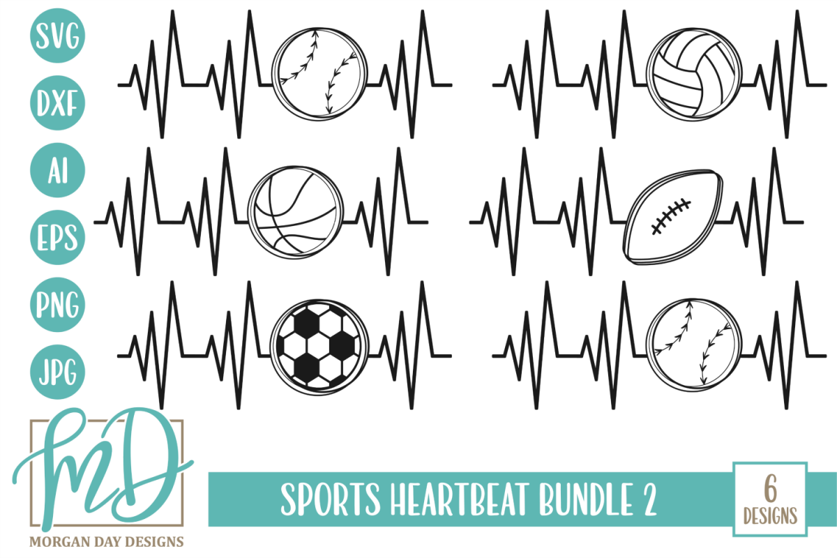 Volleyball -Basketball - Sports Heartbeat Bundle 2 SVG example image 1