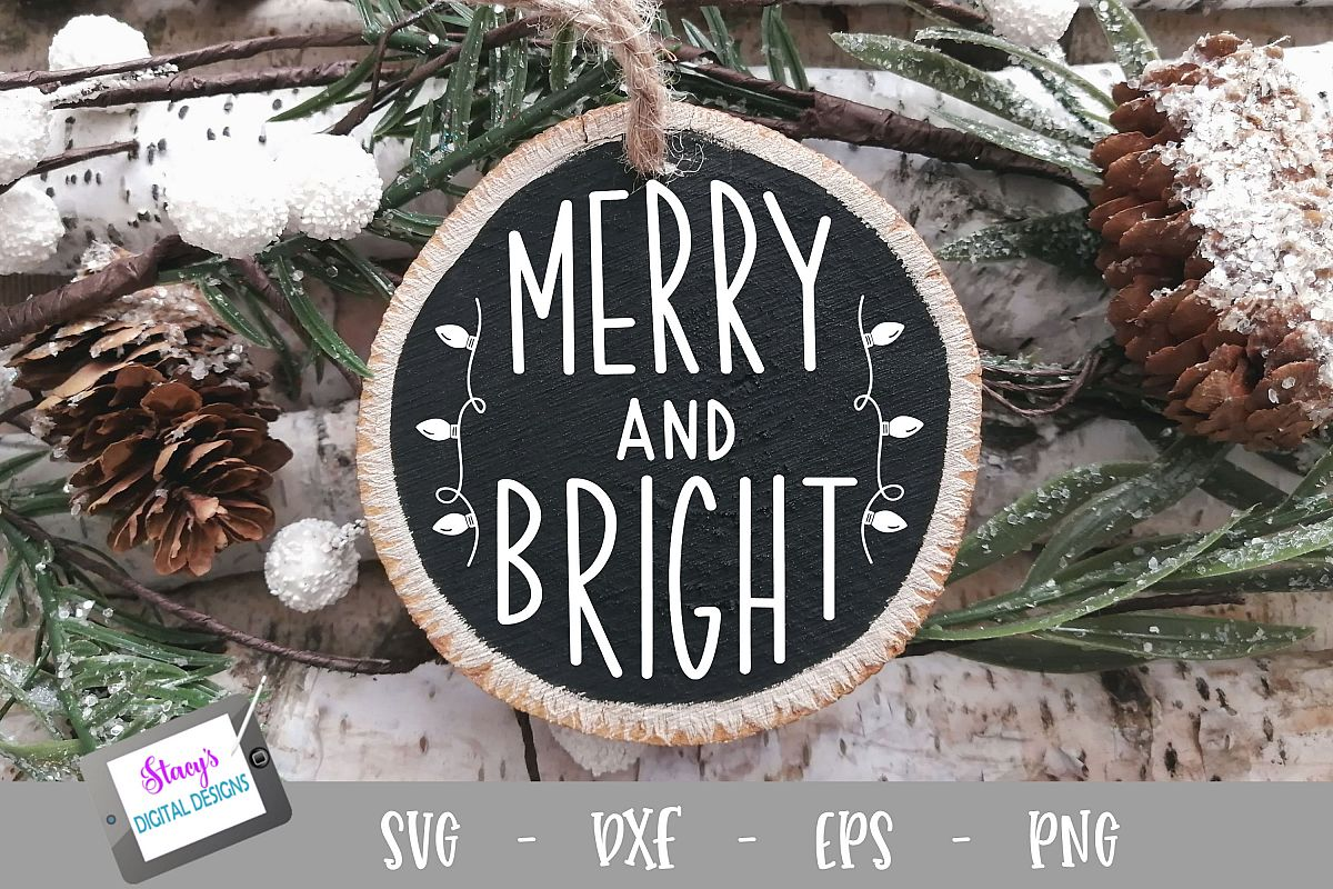 Christmas Ornament SVG - Merry and Bright - Round example image 1