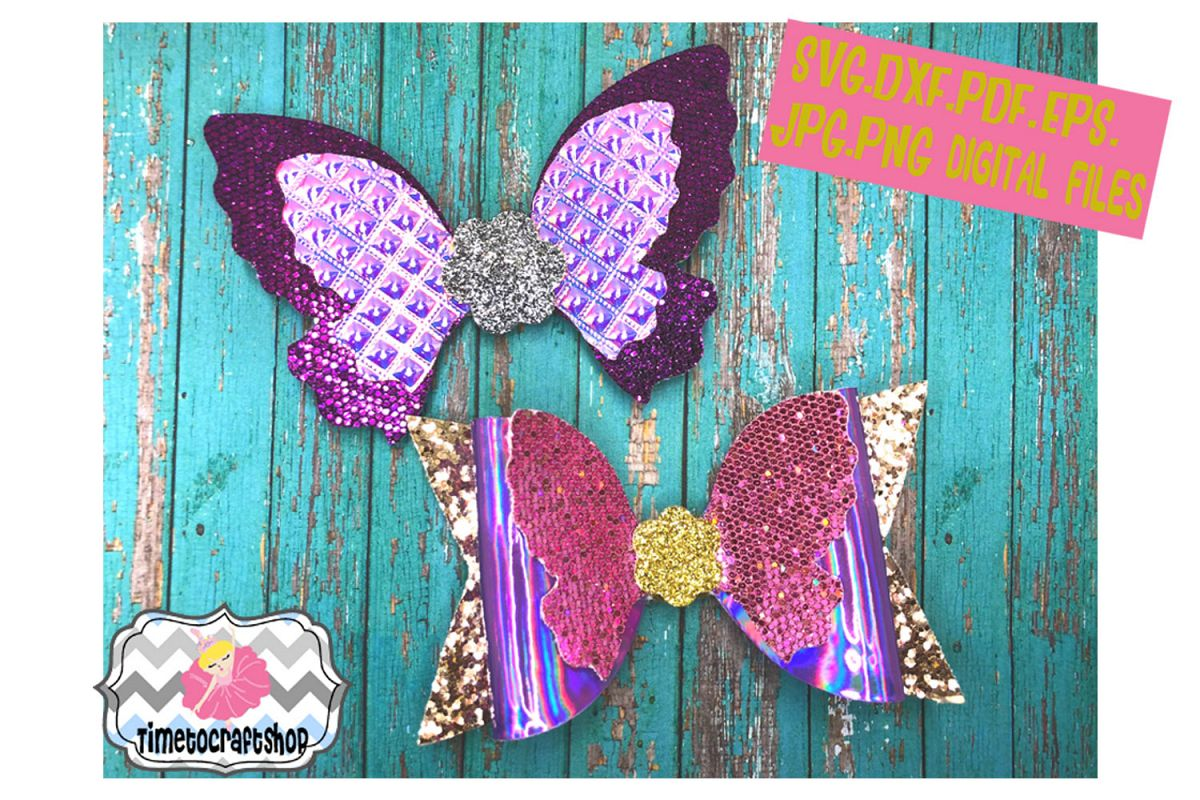 graphic about Free Printable Hair Bow Templates called Butterfly Hair Bow Template. Svg. Dxf. Pdf. Eps. Jpg. Png