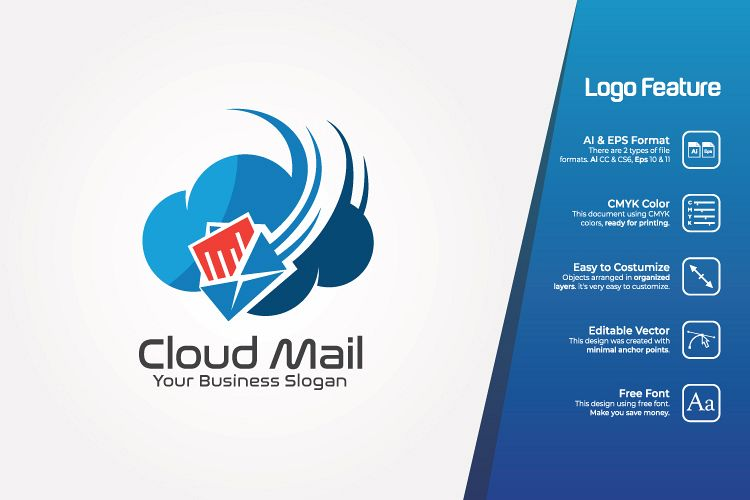 Cloud Mail Logo Template example image 1