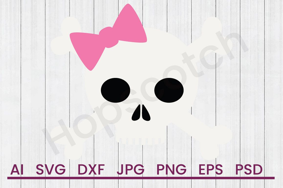 Girl Skull SVG, DXF File, Cuttatable File example image 1