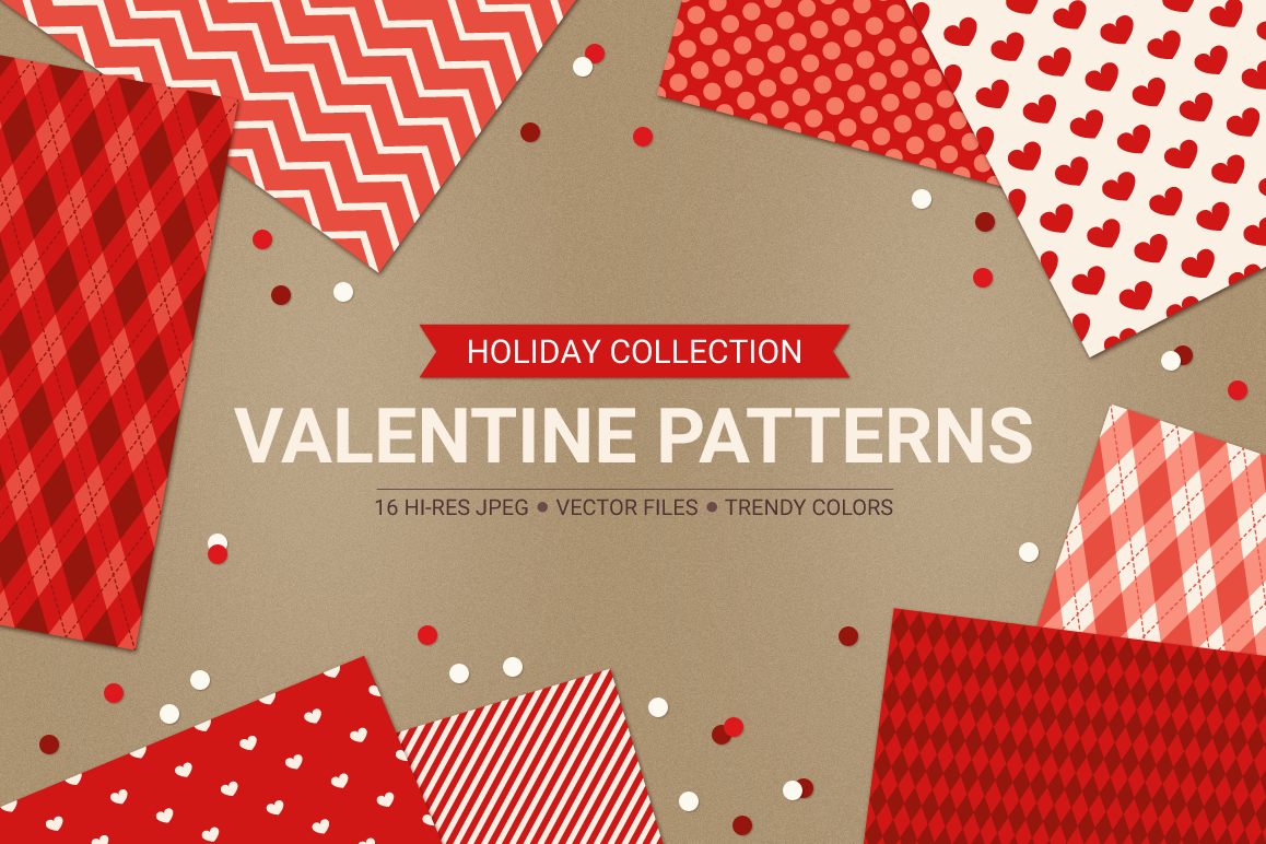 Valentine Seamless Patterns - Set 3 example image 1