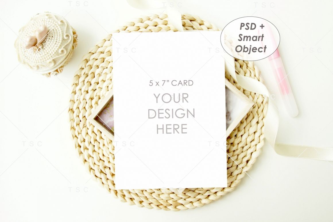 "5"" x 7"" Card Mockup / Invitation Card / Save the date Card example image 1"