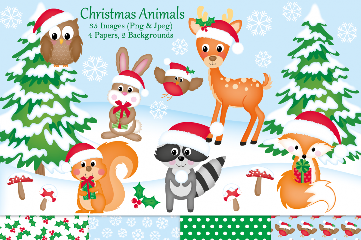 Christmas clipart,Christmas graphics & illustrations,Animals example image 1