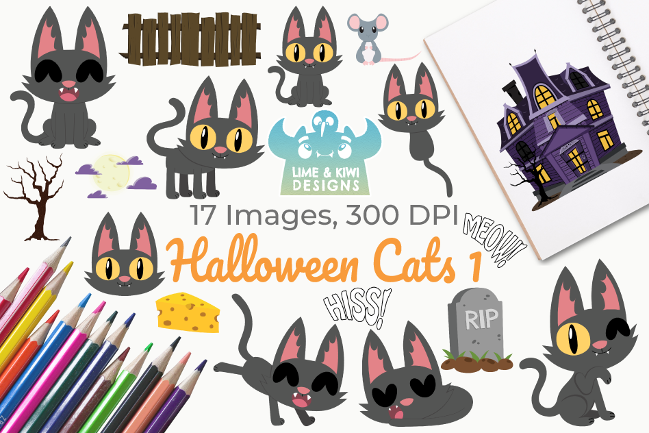Halloween Cats 1 Clipart, Instant Download Vector Art example image 1