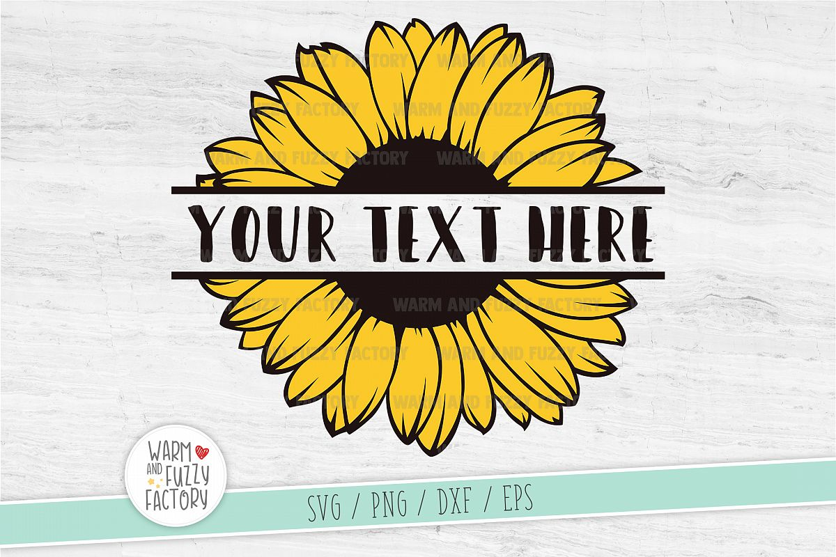 Sunflower svg, Sunflower split monogram svg, Flower svg