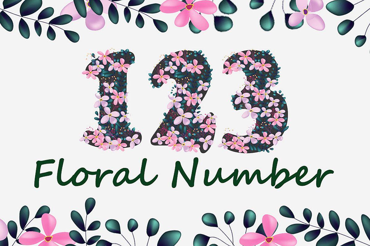 Pink Floral Number Font example image 1