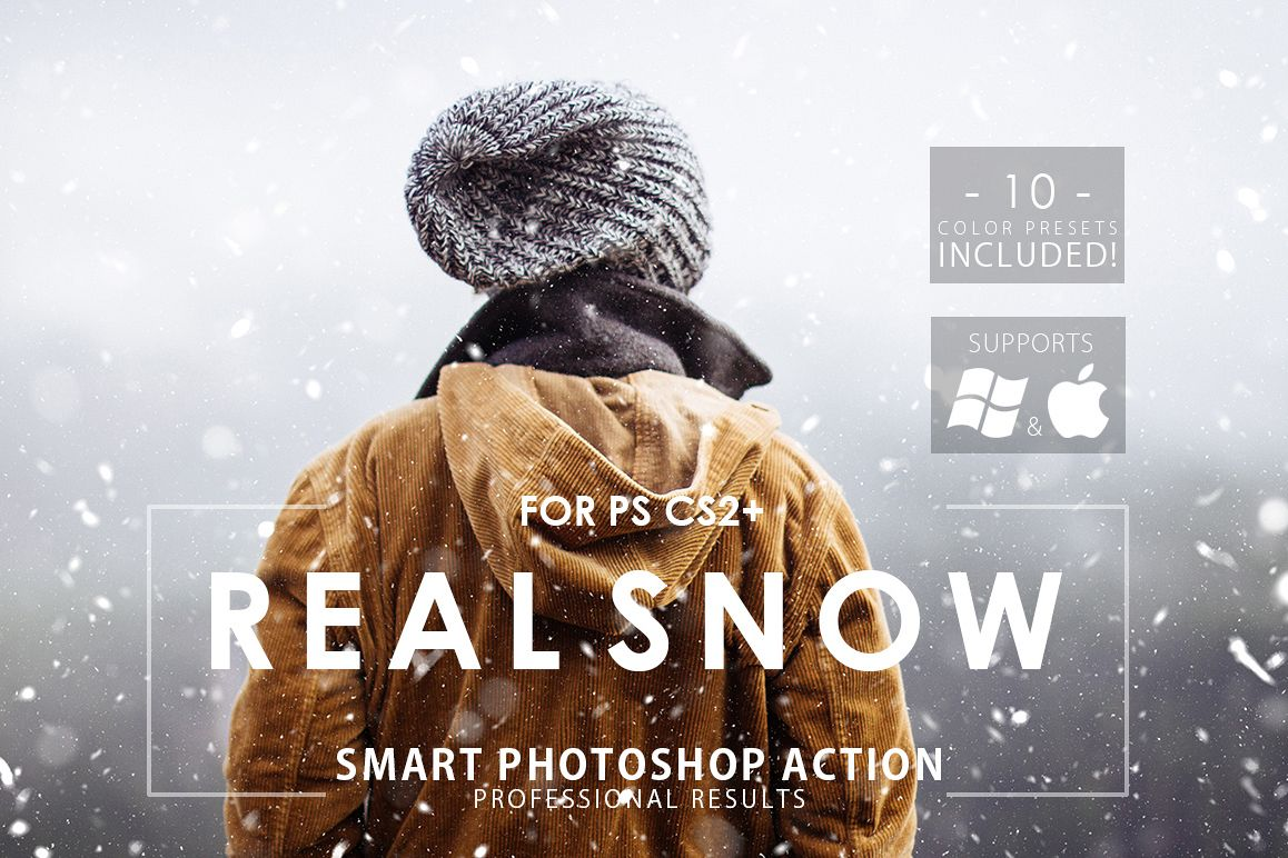 Real Snow Photoshop Action example image 1