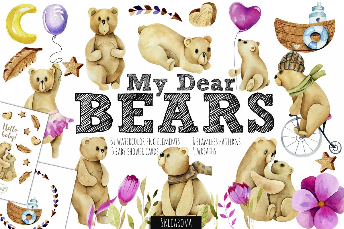 My dear Bears. Watercolor clipart. example image 1