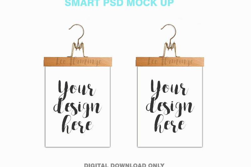 Two hanger poster frame mockups 2 picture mockup 8x10 example image 1