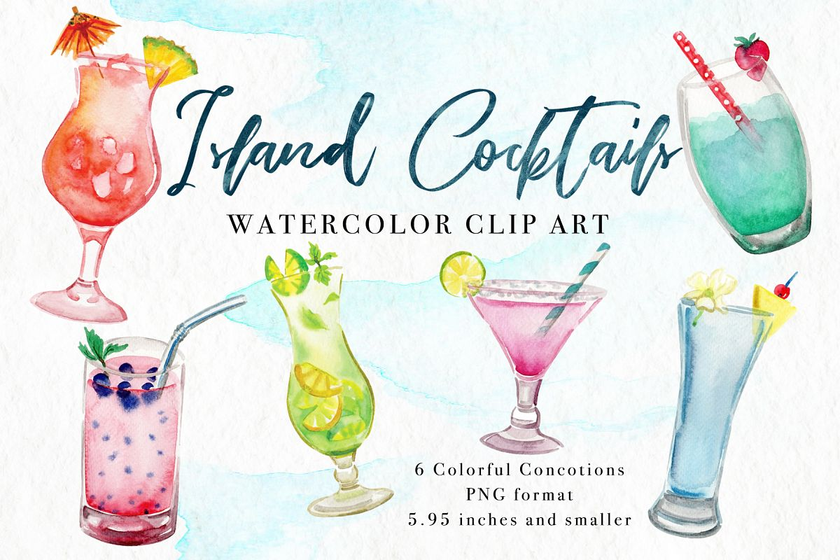 Island Cocktails Watercolor Clip Art example image 1