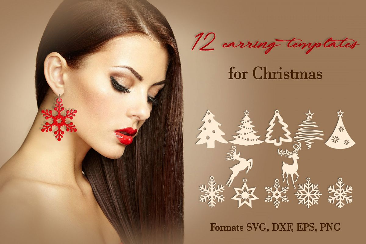 12 Christmas earrings svg Leather earrings svg Necklace svg example image 1