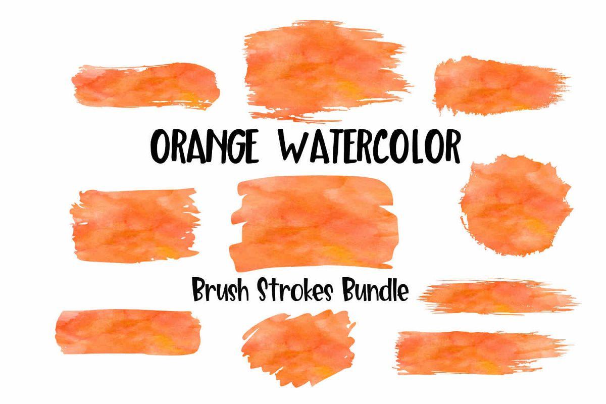 Orange Watercolor Brush Strokes Background Bundle PNG example image 1