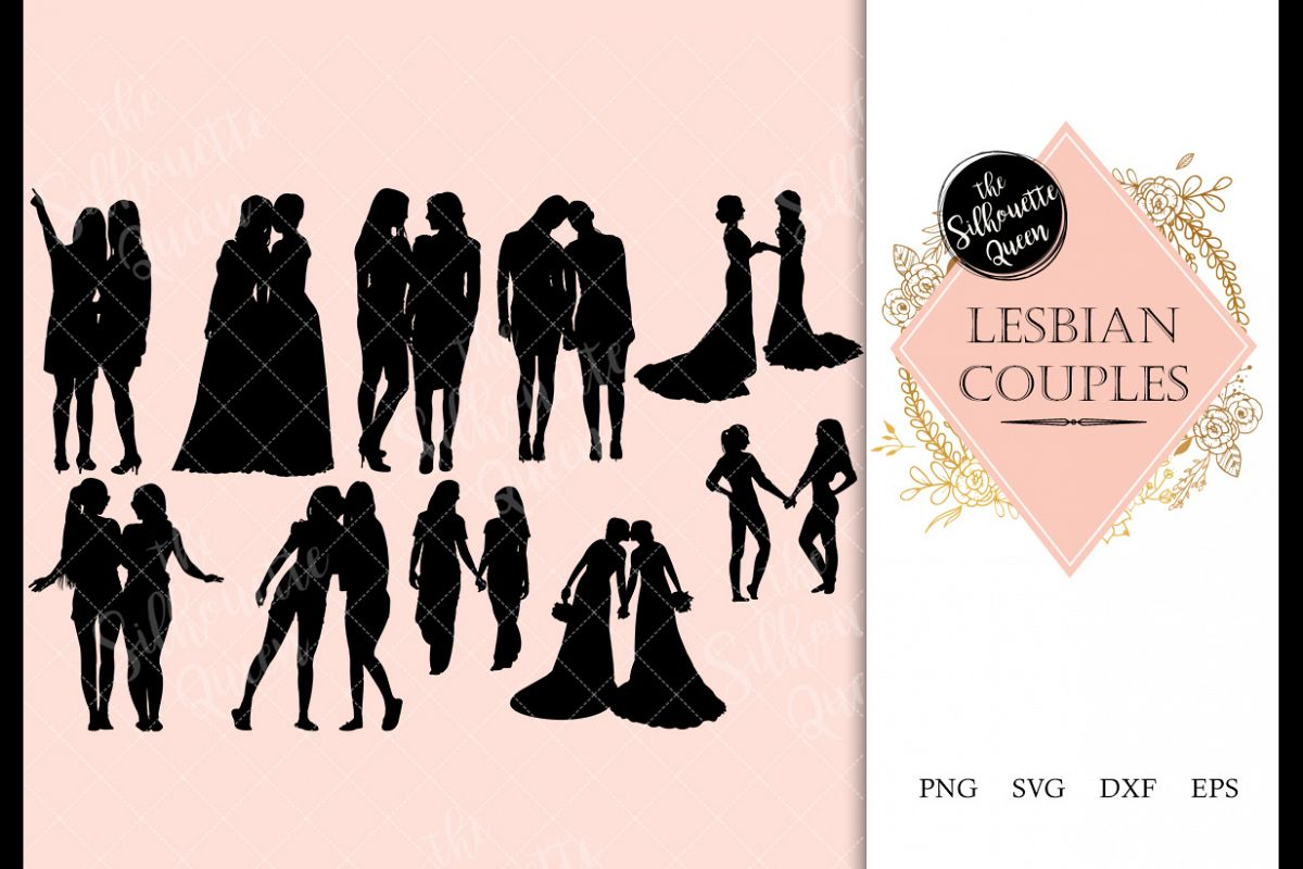 Lesbian Couple svg file, homosexual svg cut file example image 1