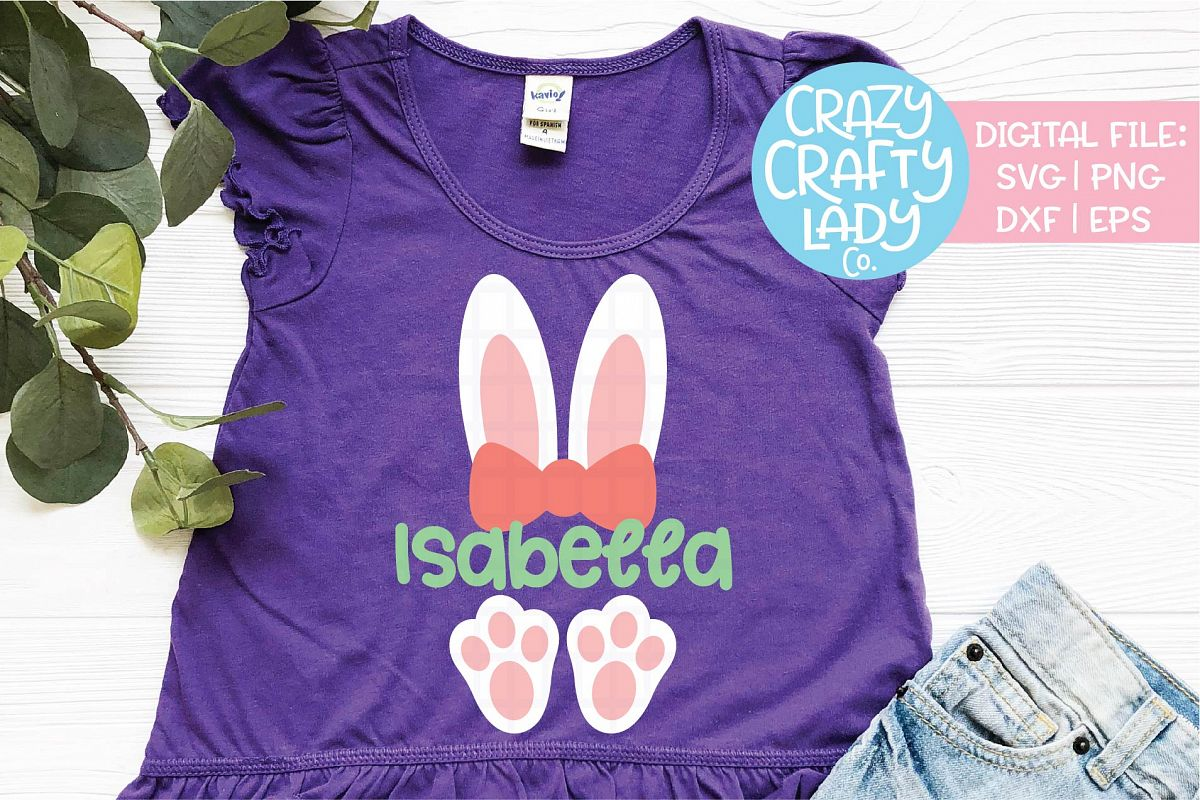 Girl Easter Bunny Ears & Feet SVG DXF EPS PNG Cut File example image 1
