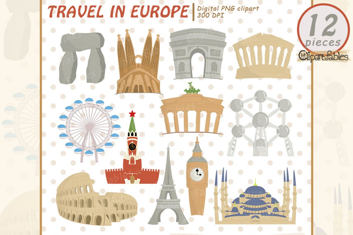TRAVEL in Europe clipart, cute Famous European buildings example image 1