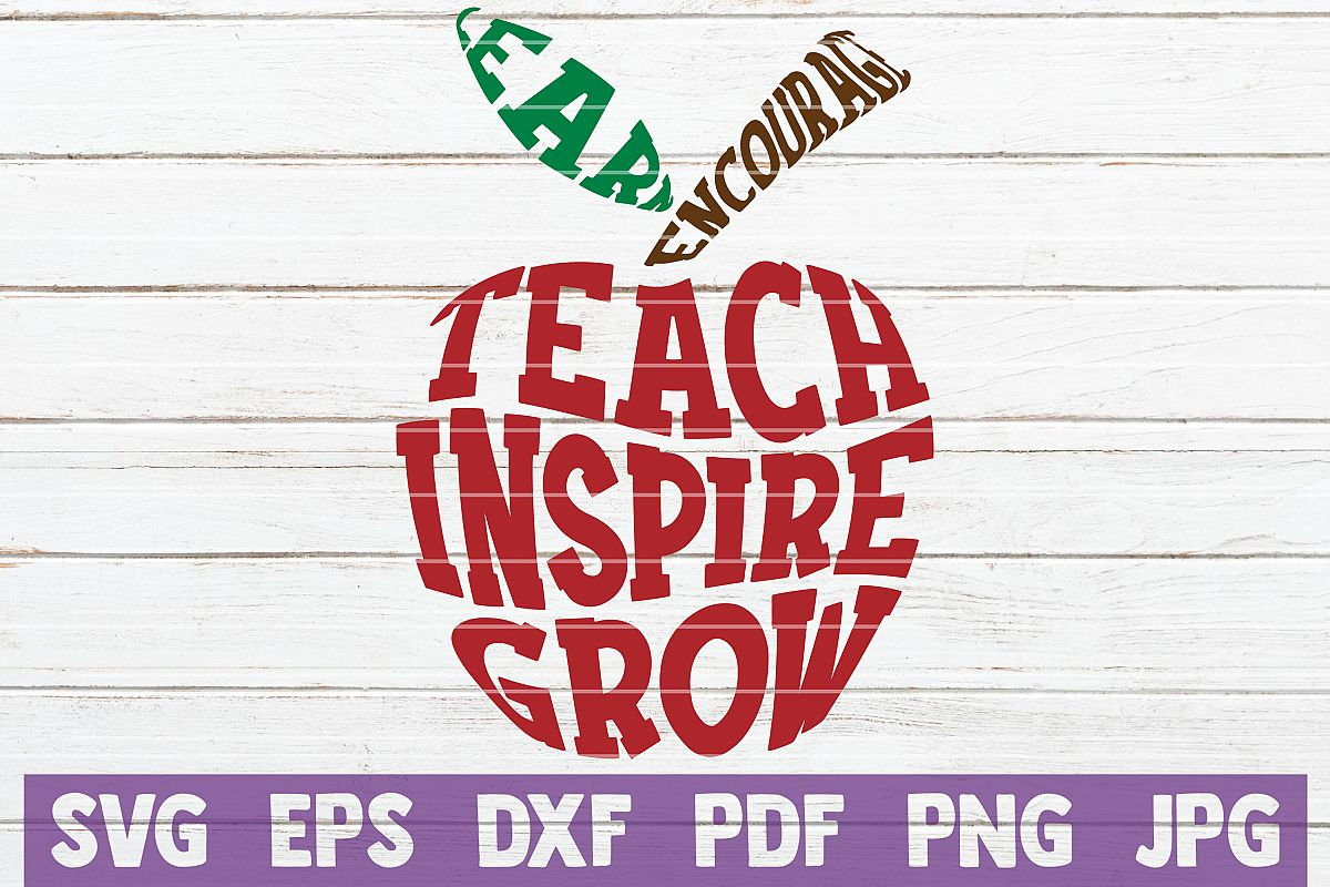 Teacher Apple SVG Cut File   commercial use example image 1