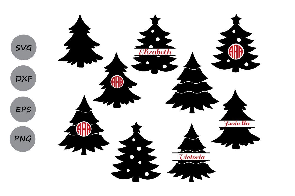 Christmas Tree Clipart Silhouette.Christmas Tree Svg Christmas Tree Monogram Svg Christmas
