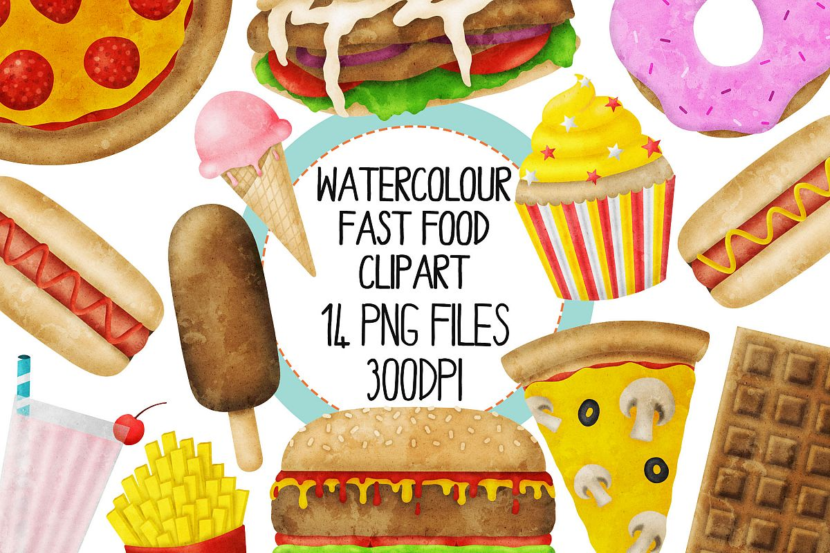 Watercolor Fast Food Clip Art Set example image 1