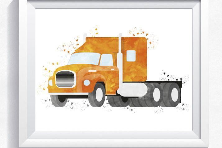 Watercolor truck printable, truck wall | Design Bundles