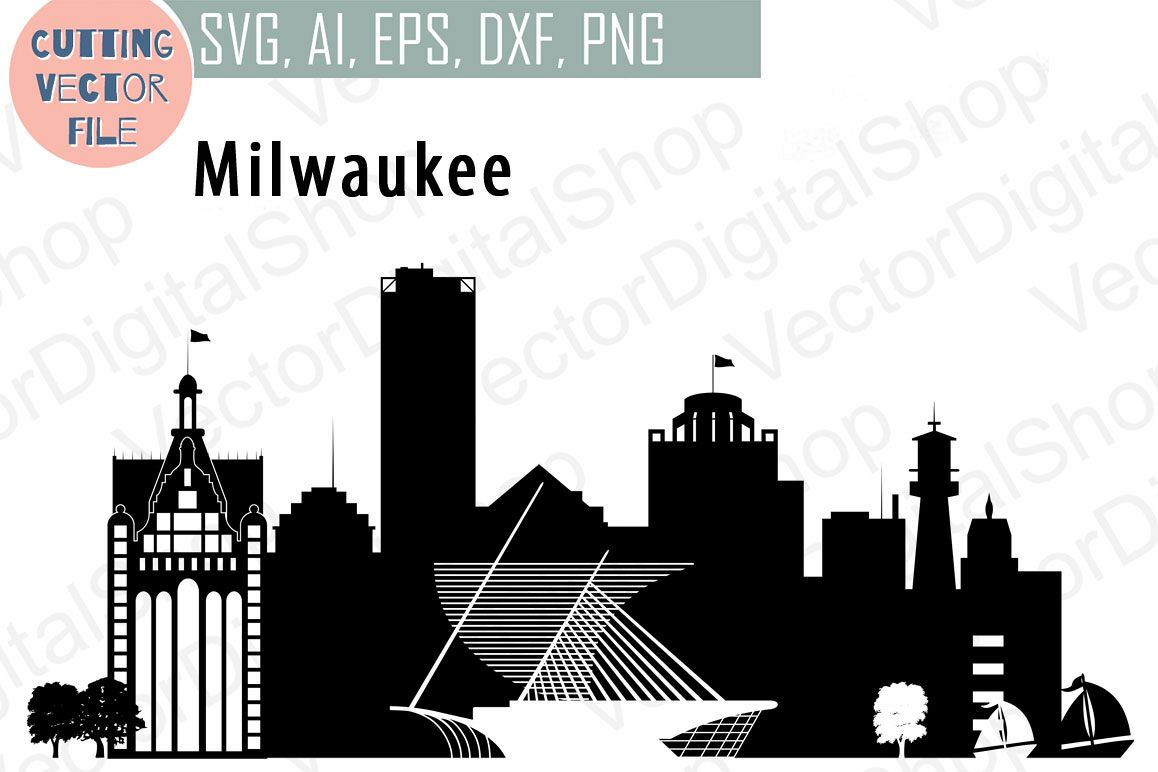 milwaukee vector wisconsin skyline usa city svg jpg png dwg