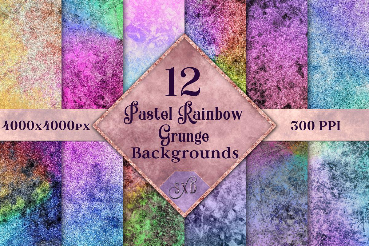 Pastel Rainbow Grunge Backgrounds - 12 Image Textures Set example image 1