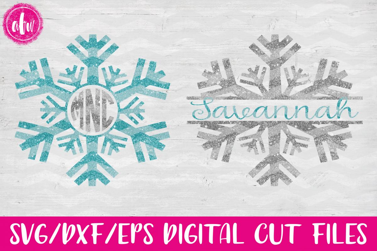 Monogram & Split Snowflake Set - SVG, DXF, EPS Cut File example image 1