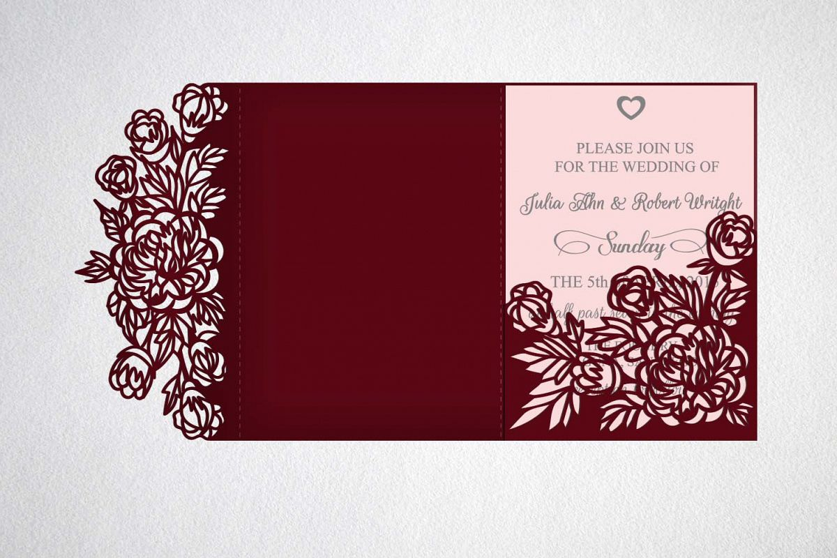 tri fold wedding invitation, svg dxf laser cut template