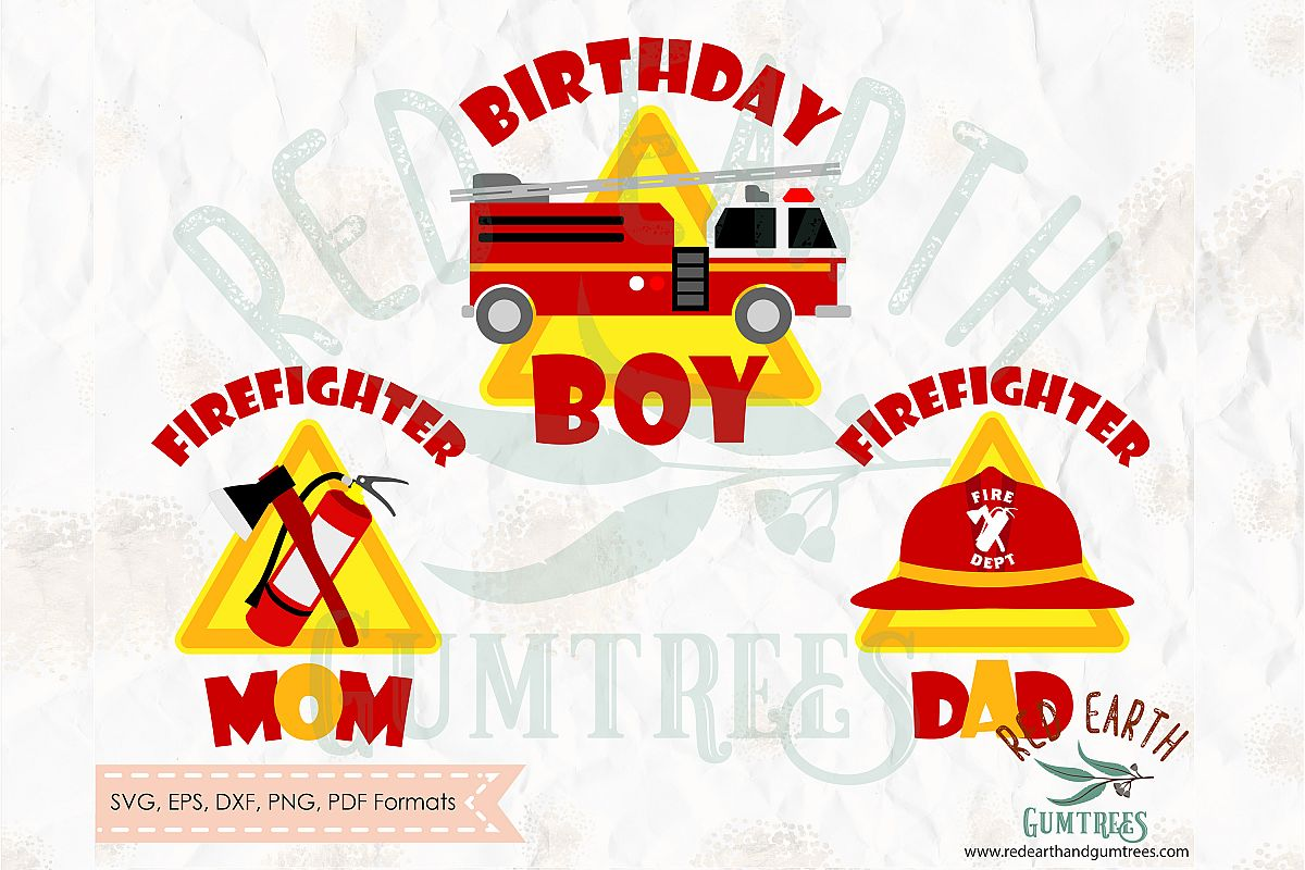 Fireman birthday theme, firefighter in SVG,DXF,PNG,EPS,PDF example image 1