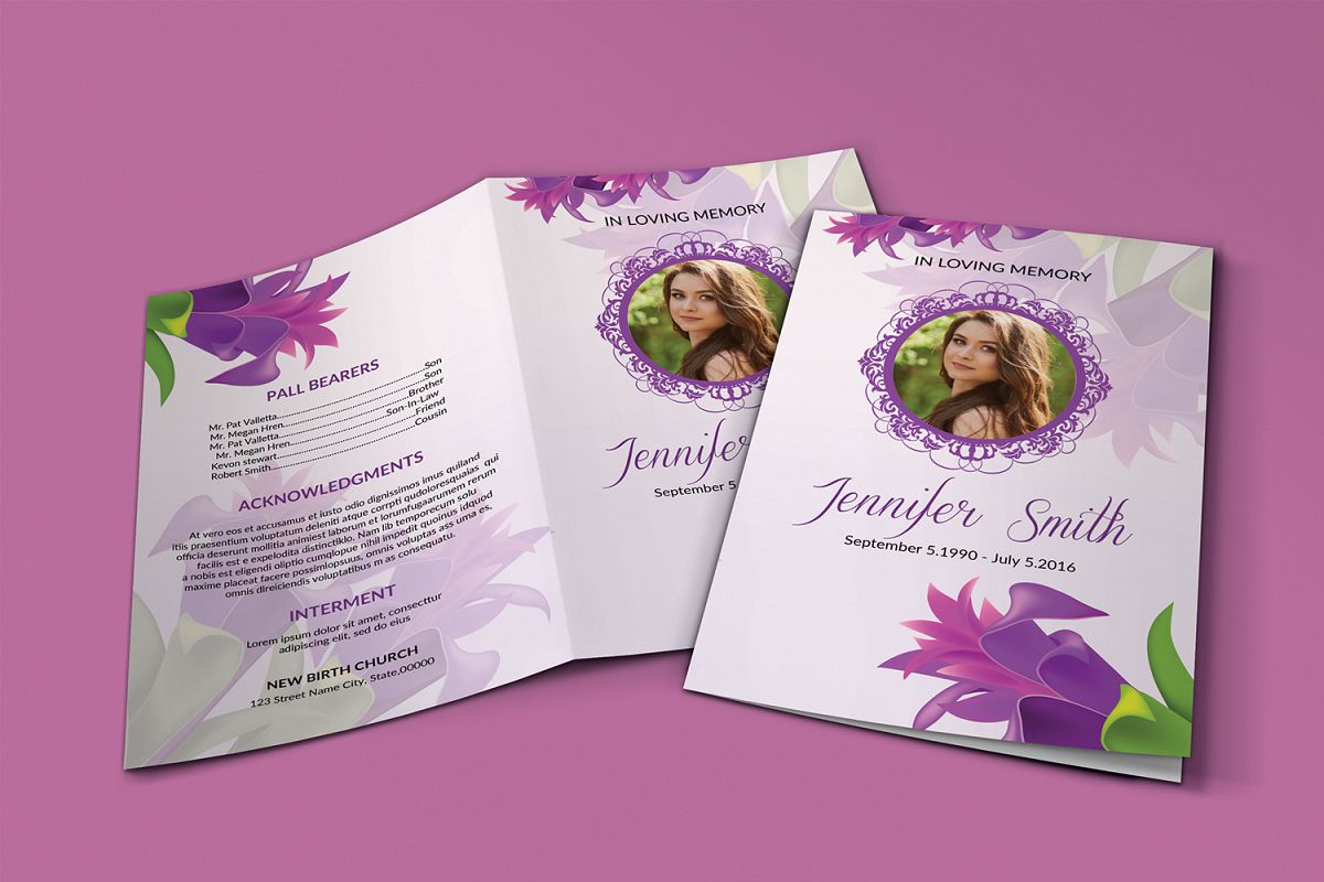 Floral Funeral Program Template example image 1