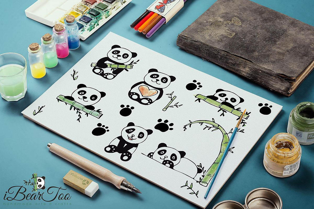 Panda SVG Bundle Watercolor Clipart Bear Drawing Vector example image 1