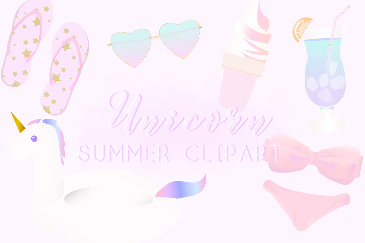 Unicorn Summer Clipart example image 1