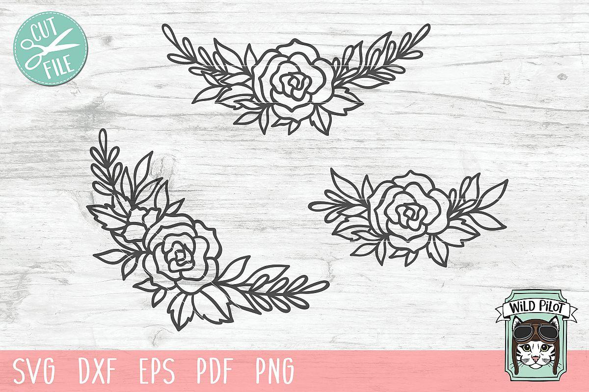 Flowers SVG file, Flower Border, Floral cut file, Roses example image 1