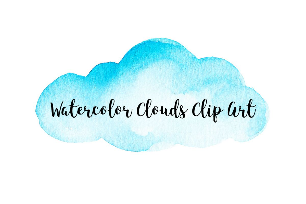 Watercolor Clouds Clip Art, Watercolor Clouds PNG example image 1