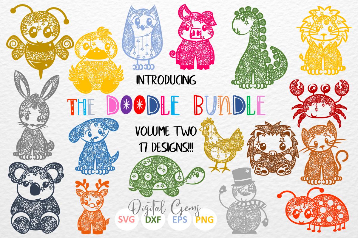 The Doodle Bundle volume 2 SVG / DXF / EPS files example image 1