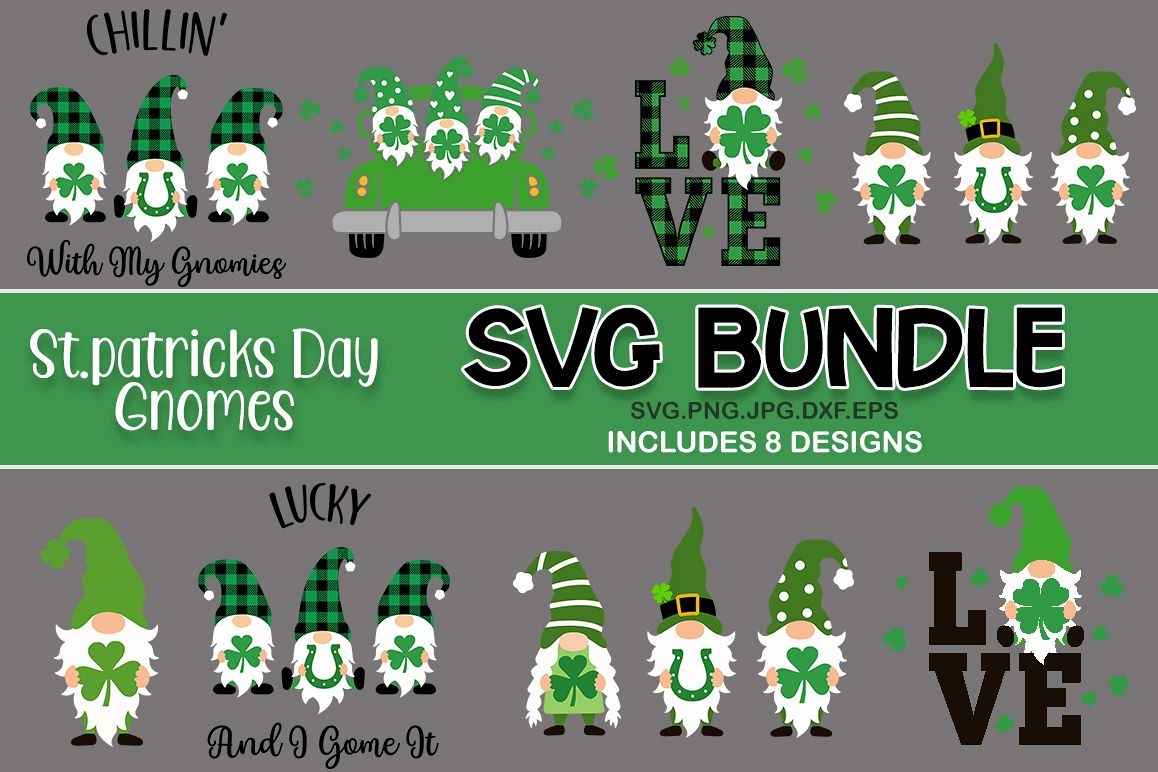 St Patrick's day gnomes svg bundle. gnomes SVG example image 1