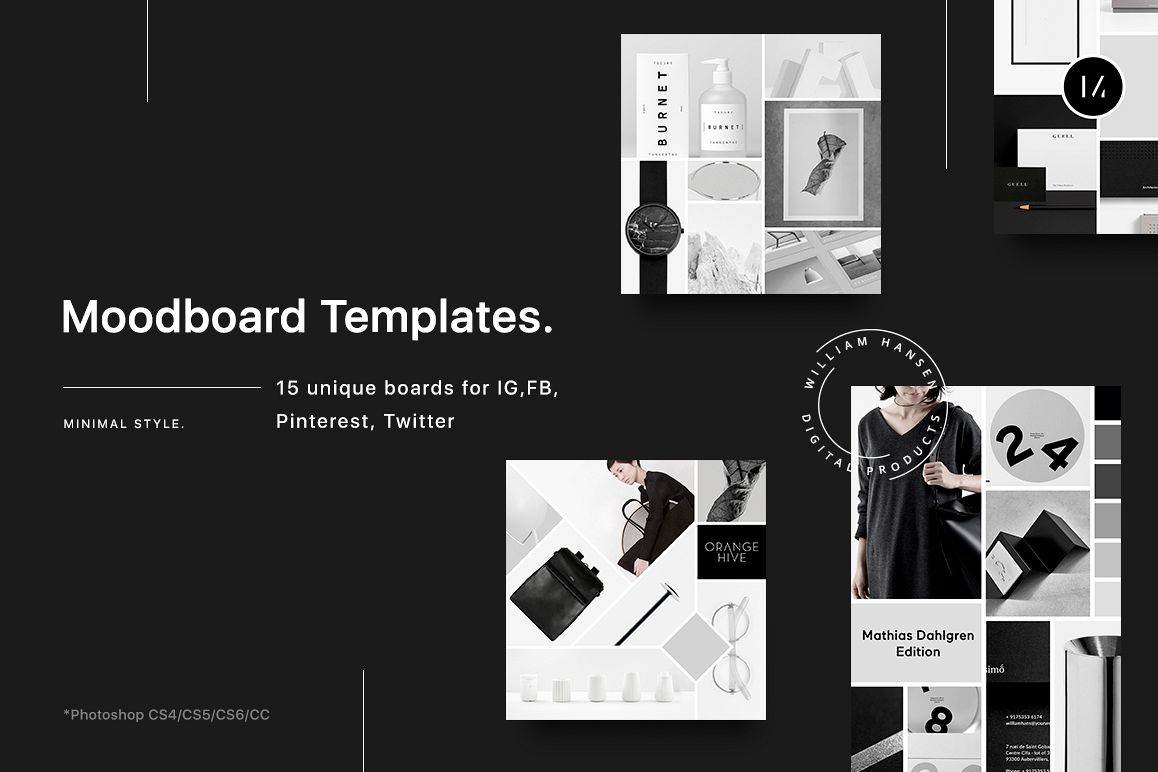 Mood board templates for Fashion mood board template