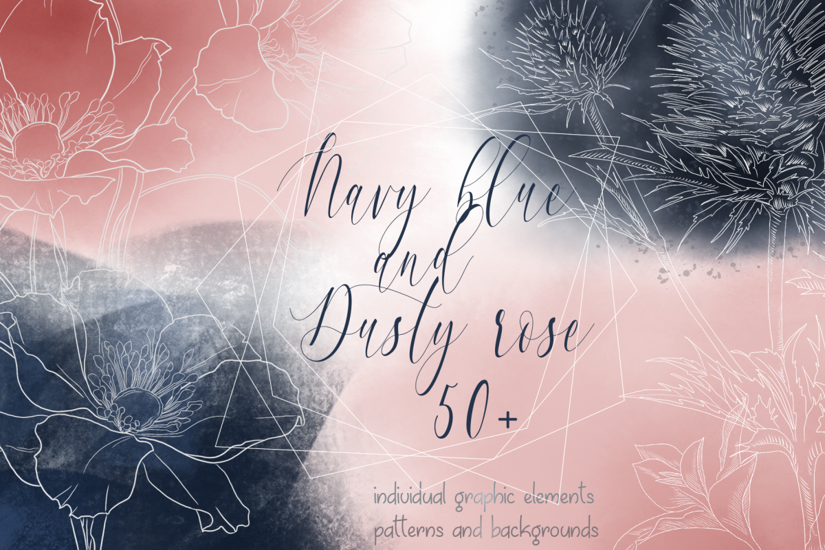 Navy blue and Dusty rose example image 1