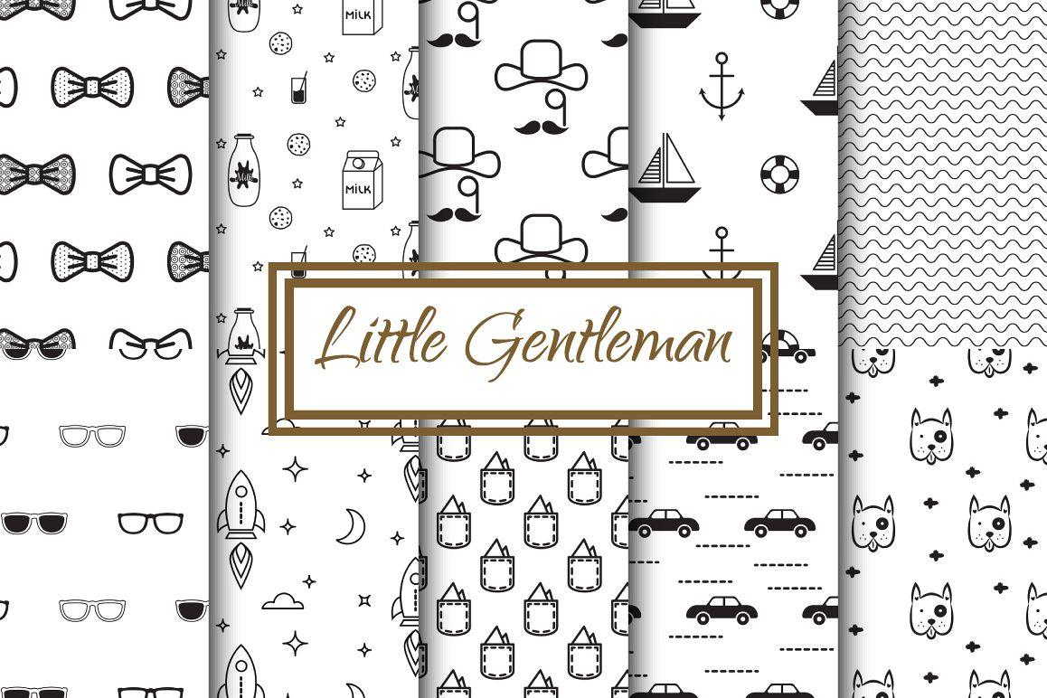 Little Gentleman Seamless Patterns example image 1