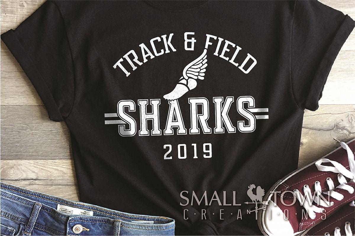 Sharks Track and Field, Shark mascot, PRINT, CUT, DESIGN example image 1