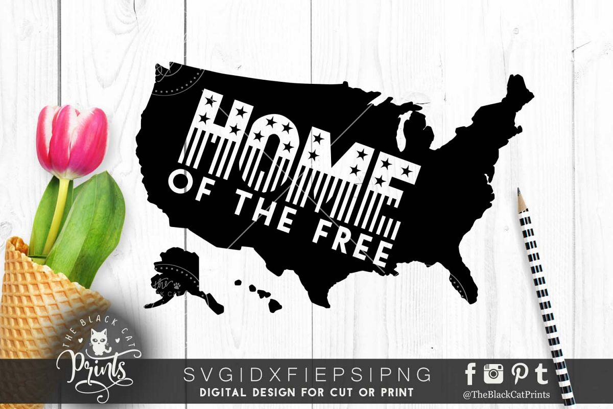 Home of the free Usa Map SVG PNG EPS DXF example image 1