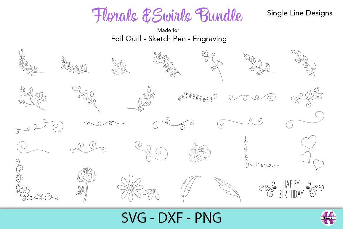 Florals & Swirls Bundle SVG - Foil Quill - Sketch Pen