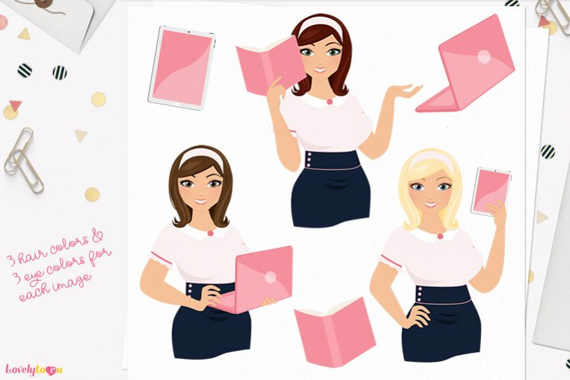 Woman teacher character clip art L117 Willow example image 1