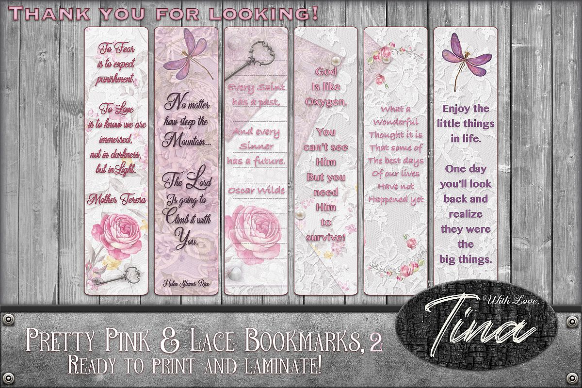 Bookmarks Pink Lace Butterflies Roses Inspiration 091618BM2 example image 1