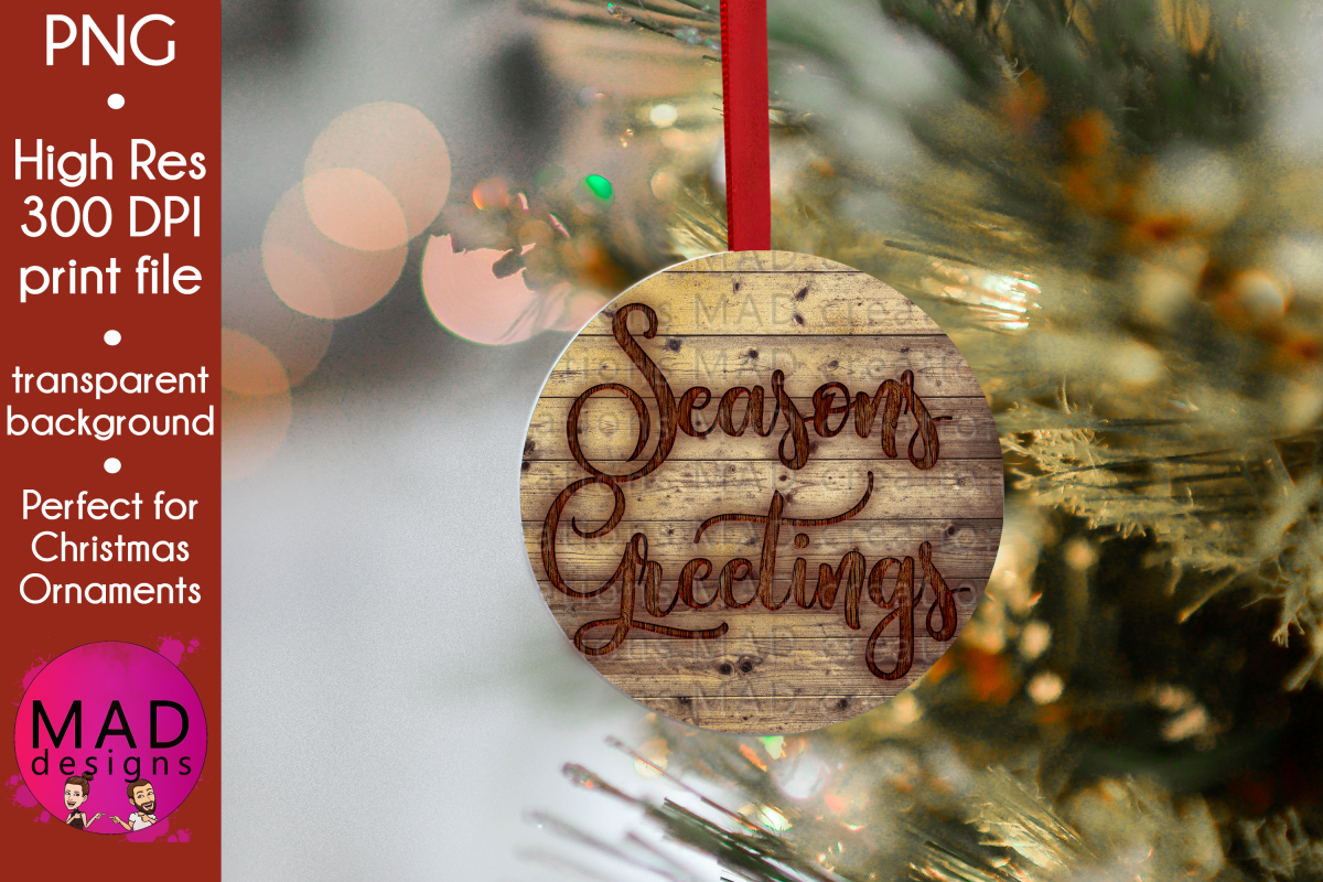 Seasons Greetings - Rustic Wood Slice Christmas Ornament example image 1