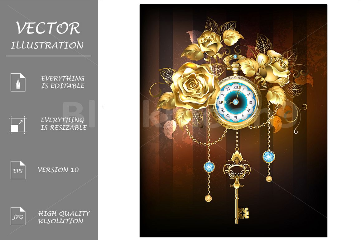 Clock with Gold Roses ( Steampunk ) example image 1