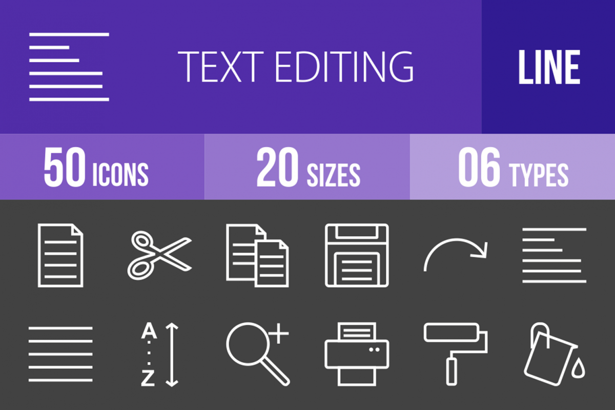50 Text Editing Line Inverted Icons example image 1