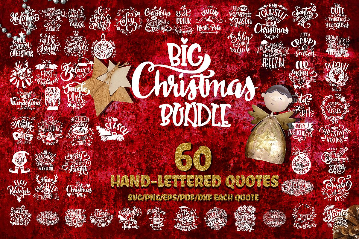 Christmas svg BUNDLE BIG set of 60 quotes example image 1